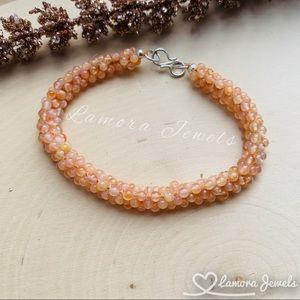 Genuine Peach Moonstone Gemstone Wove Bracelet